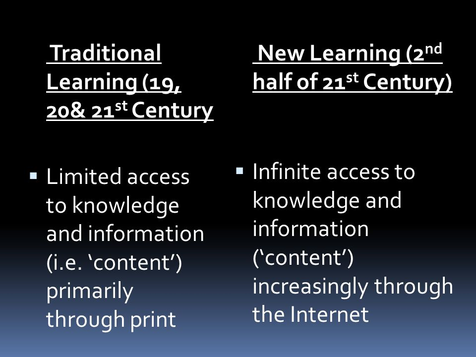 Traditional Learning (19, 20& 21 st Century Limited access to knowledge and information (i.e.