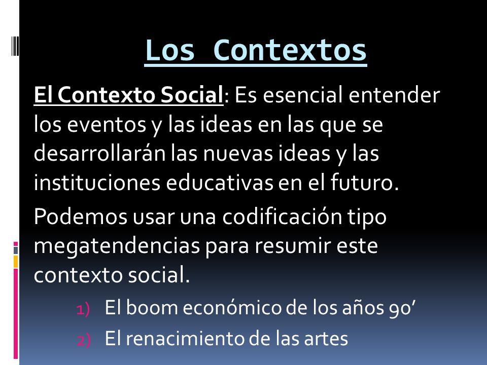Los Contextos El Contexto Social: Es esencial entender los eventos y las ideas en las que se desarrollarán las nuevas ideas y las instituciones educativas en el futuro.