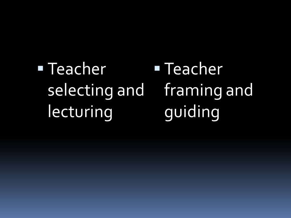 Teacher selecting and lecturing Teacher framing and guiding