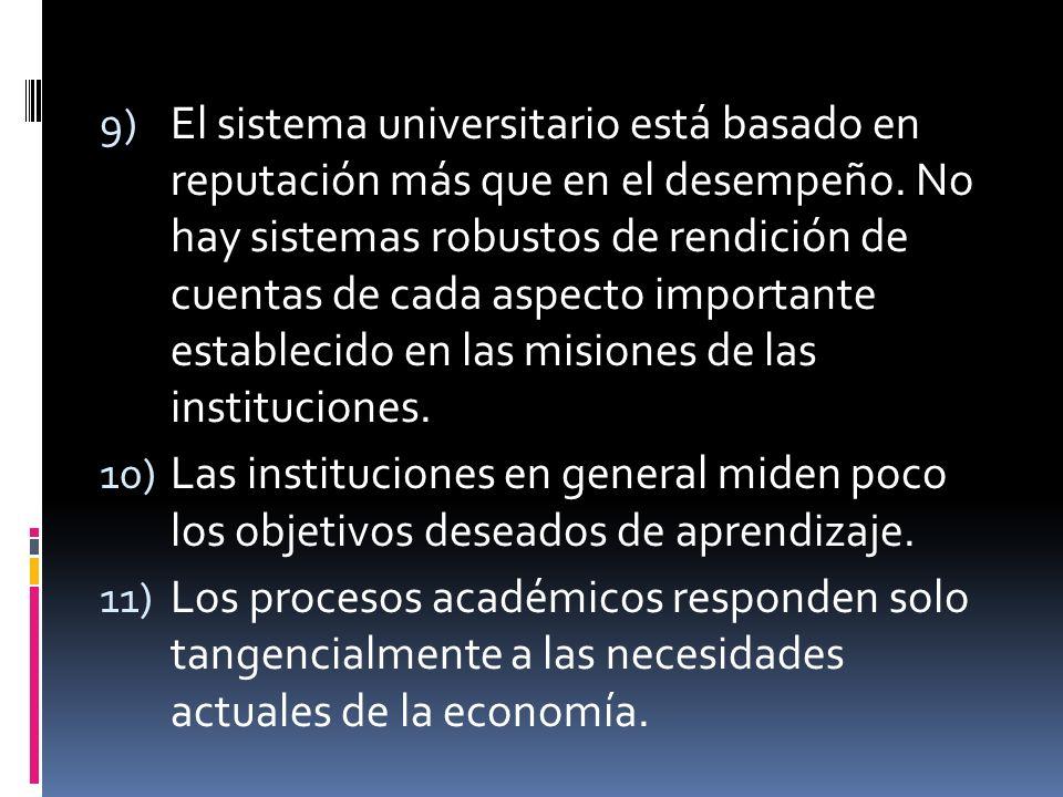 9) El sistema universitario está basado en reputación más que en el desempeño.