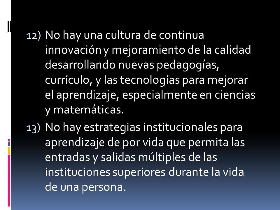 12) No hay una cultura de continua innovación y mejoramiento de la calidad desarrollando nuevas pedagogías, currículo, y las tecnologías para mejorar el aprendizaje, especialmente en ciencias y matemáticas.