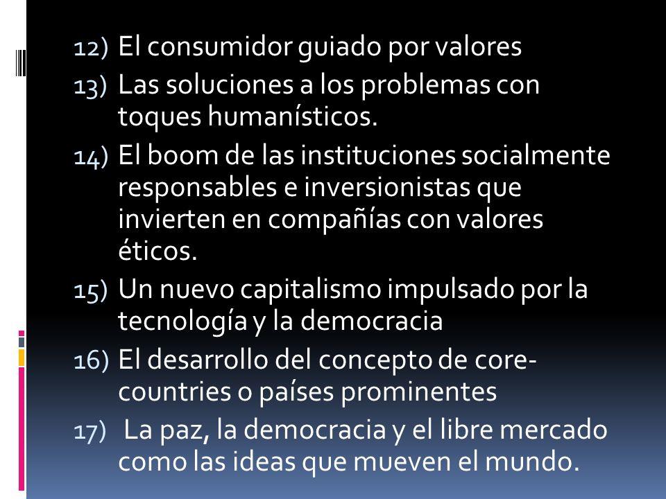 12) El consumidor guiado por valores 13) Las soluciones a los problemas con toques humanísticos.