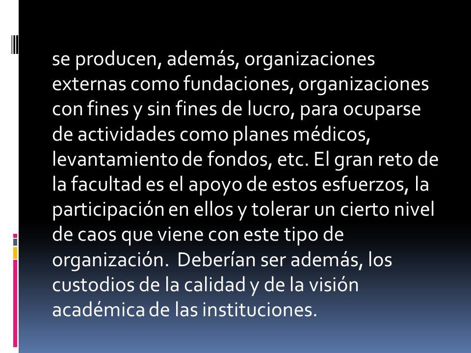 se producen, además, organizaciones externas como fundaciones, organizaciones con fines y sin fines de lucro, para ocuparse de actividades como planes médicos, levantamiento de fondos, etc.