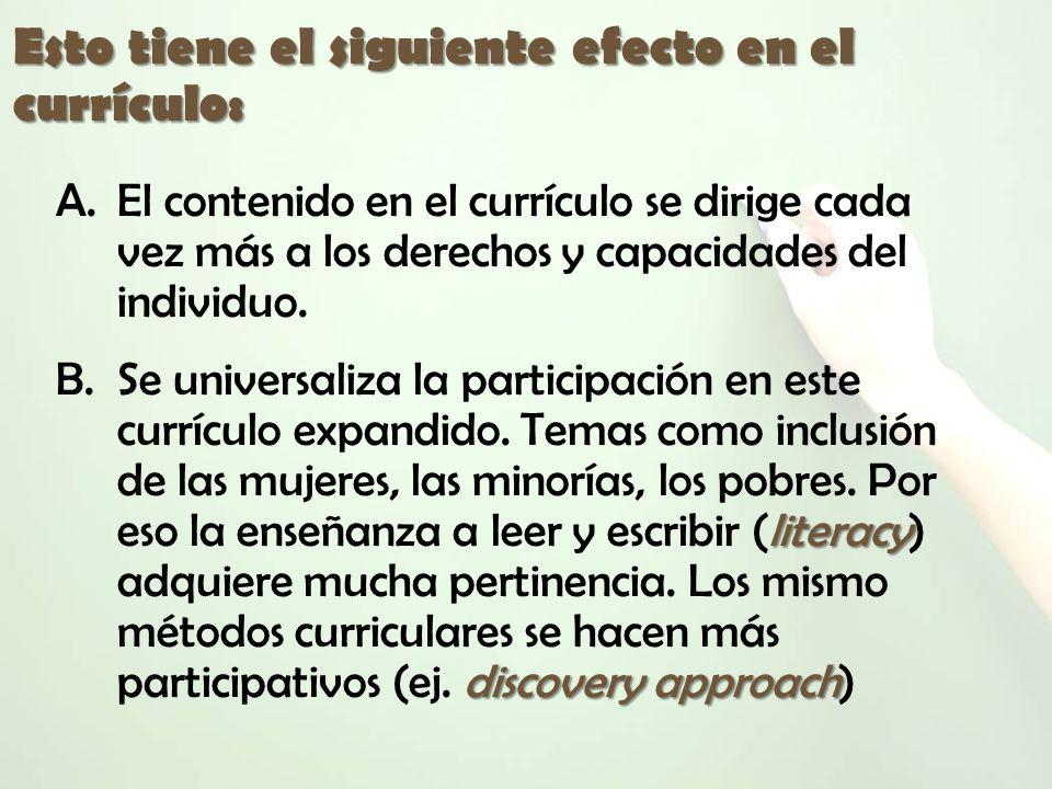 Esto tiene el siguiente efecto en el currículo: A.El contenido en el currículo se dirige cada vez más a los derechos y capacidades del individuo. lite