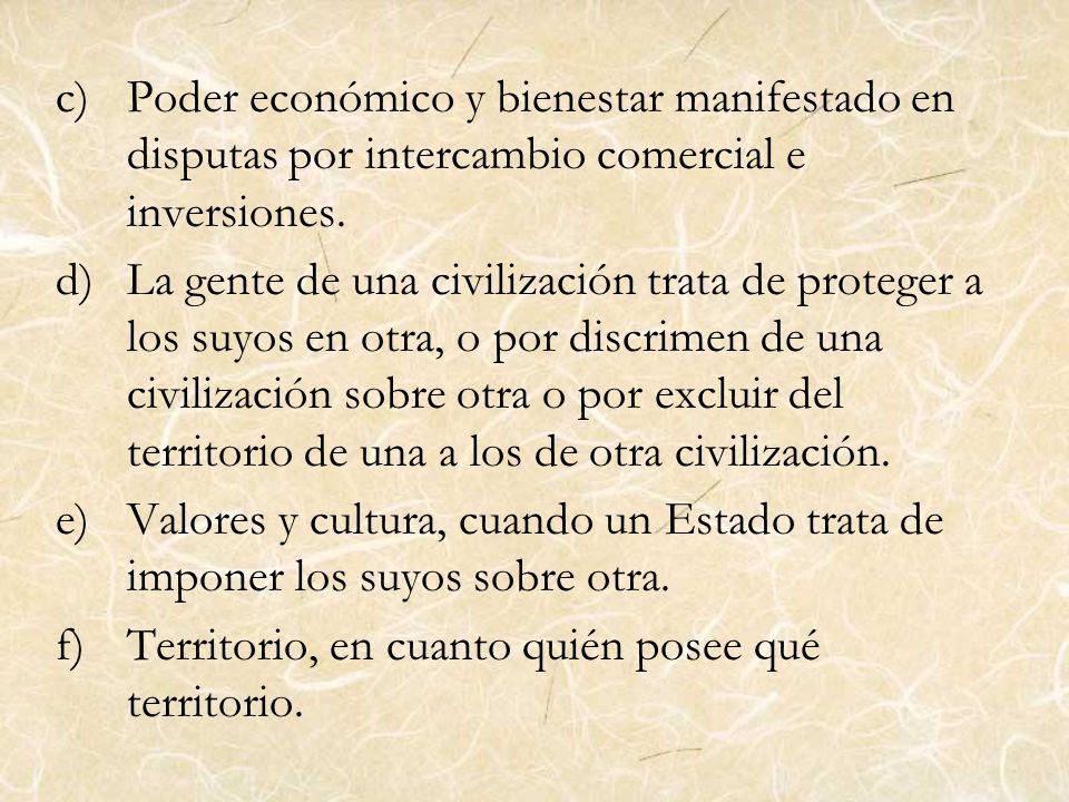 c)Poder económico y bienestar manifestado en disputas por intercambio comercial e inversiones. d)La gente de una civilización trata de proteger a los