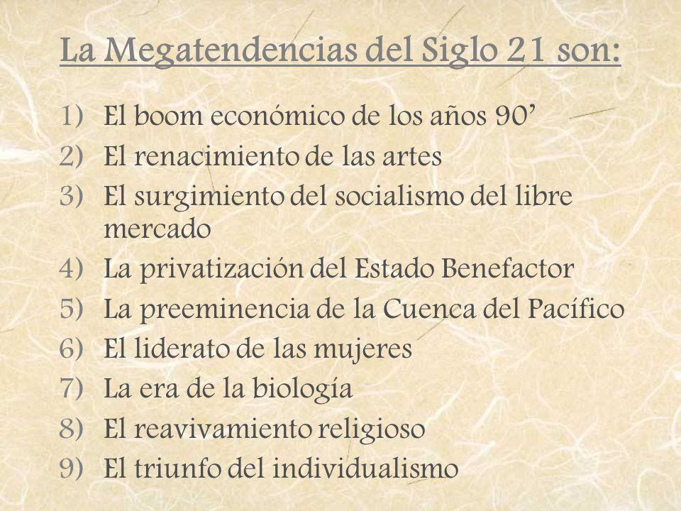 La Megatendencias del Siglo 21 son: 1)El boom económico de los años 90 2)El renacimiento de las artes 3)El surgimiento del socialismo del libre mercad