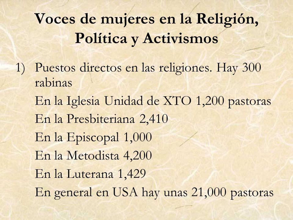 Voces de mujeres en la Religión, Política y Activismos 1)Puestos directos en las religiones. Hay 300 rabinas En la Iglesia Unidad de XTO 1,200 pastora