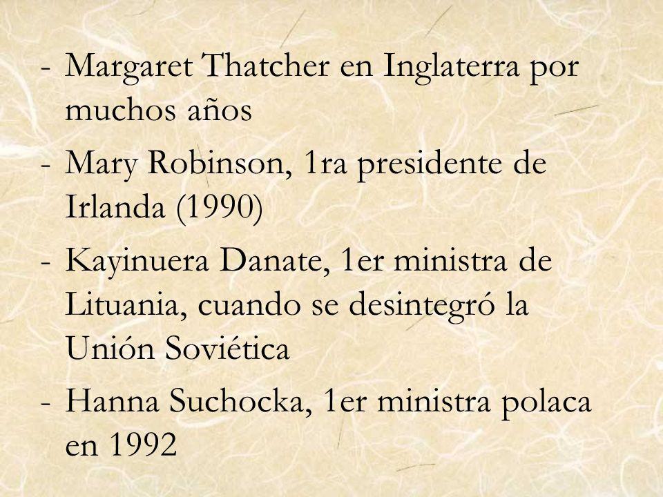 -Margaret Thatcher en Inglaterra por muchos años -Mary Robinson, 1ra presidente de Irlanda (1990) -Kayinuera Danate, 1er ministra de Lituania, cuando