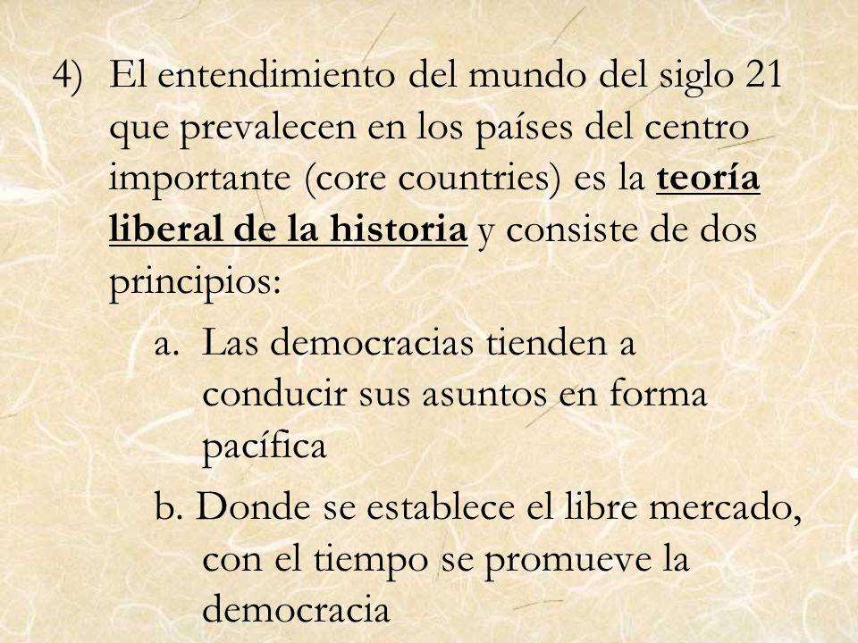 4)El entendimiento del mundo del siglo 21 que prevalecen en los países del centro importante (core countries) es la teoría liberal de la historia y co
