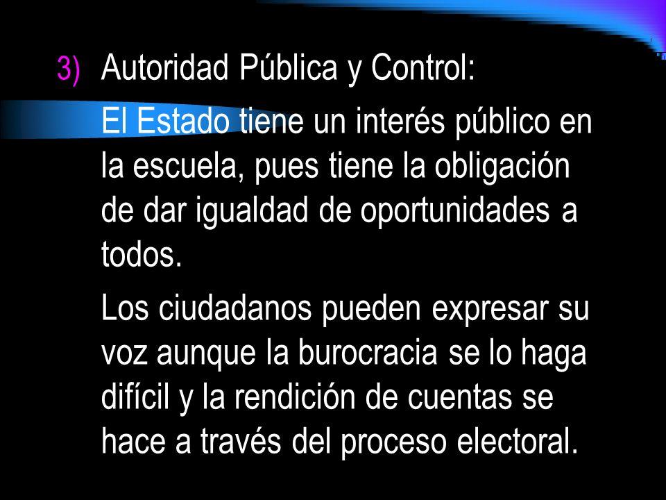 3) Autoridad Pública y Control: El Estado tiene un interés público en la escuela, pues tiene la obligación de dar igualdad de oportunidades a todos. L
