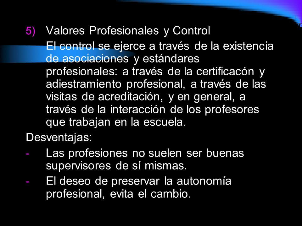 5) Valores Profesionales y Control El control se ejerce a través de la existencia de asociaciones y estándares profesionales: a través de la certifica