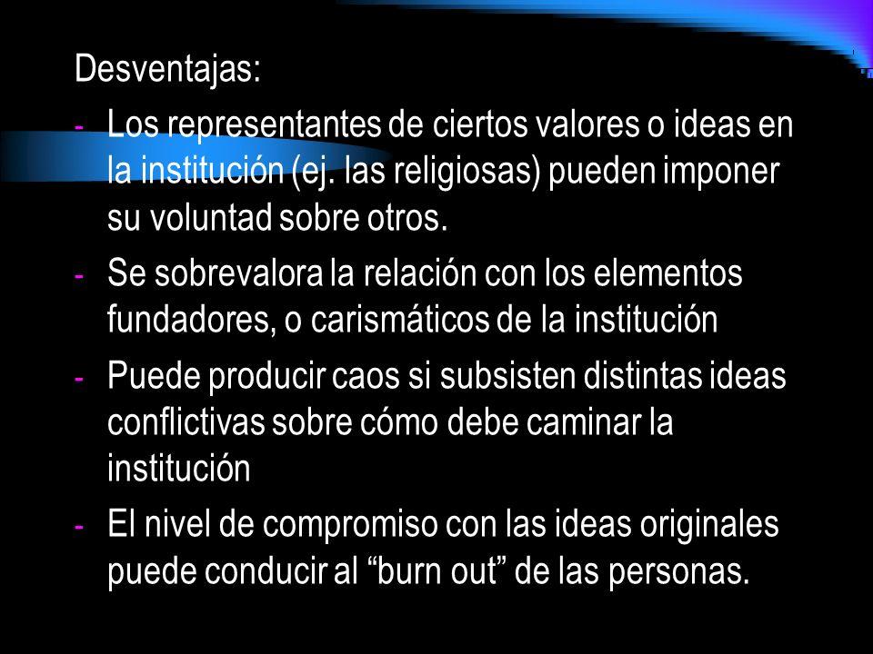 Desventajas: - Los representantes de ciertos valores o ideas en la institución (ej. las religiosas) pueden imponer su voluntad sobre otros. - Se sobre