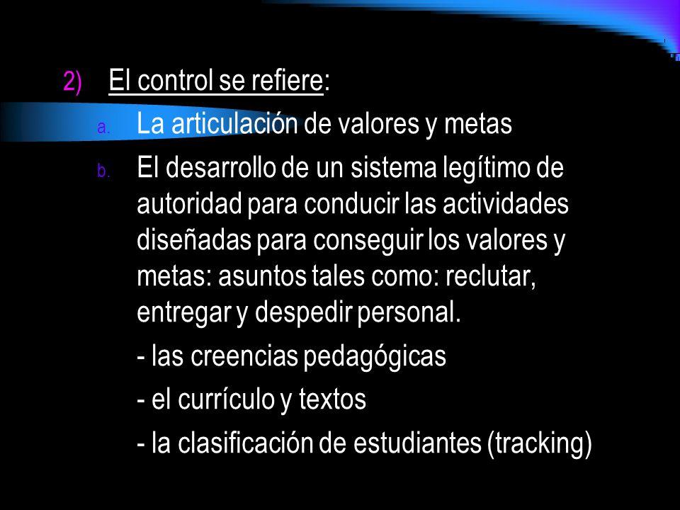 2) El control se refiere: a. La articulación de valores y metas b. El desarrollo de un sistema legítimo de autoridad para conducir las actividades dis