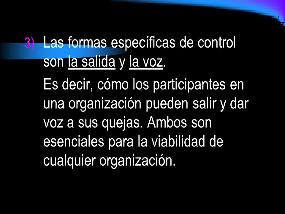 3) Las formas específicas de control son la salida y la voz. Es decir, cómo los participantes en una organización pueden salir y dar voz a sus quejas.