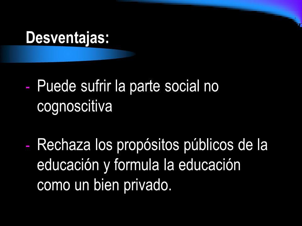 Desventajas: - Puede sufrir la parte social no cognoscitiva - Rechaza los propósitos públicos de la educación y formula la educación como un bien priv