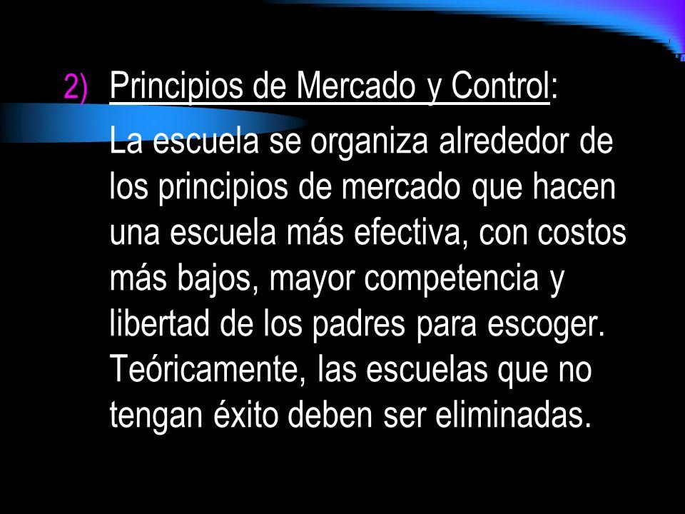 2) Principios de Mercado y Control: La escuela se organiza alrededor de los principios de mercado que hacen una escuela más efectiva, con costos más b