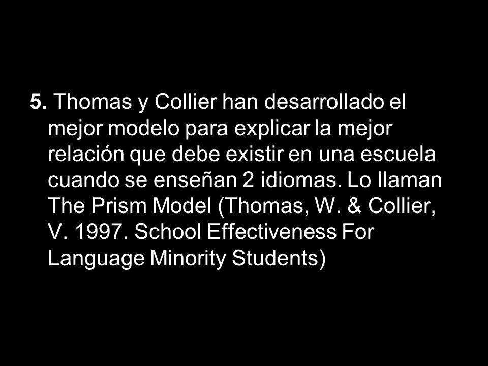 5. Thomas y Collier han desarrollado el mejor modelo para explicar la mejor relación que debe existir en una escuela cuando se enseñan 2 idiomas. Lo l
