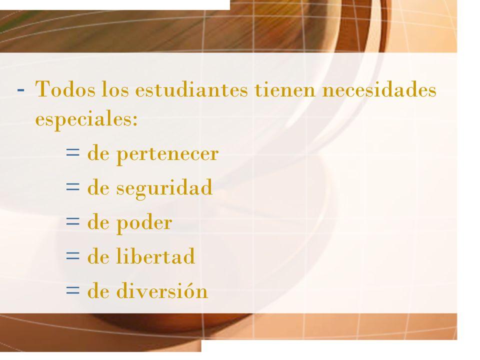 - Todos los estudiantes tienen necesidades especiales: = de pertenecer = de seguridad = de poder = de libertad = de diversión