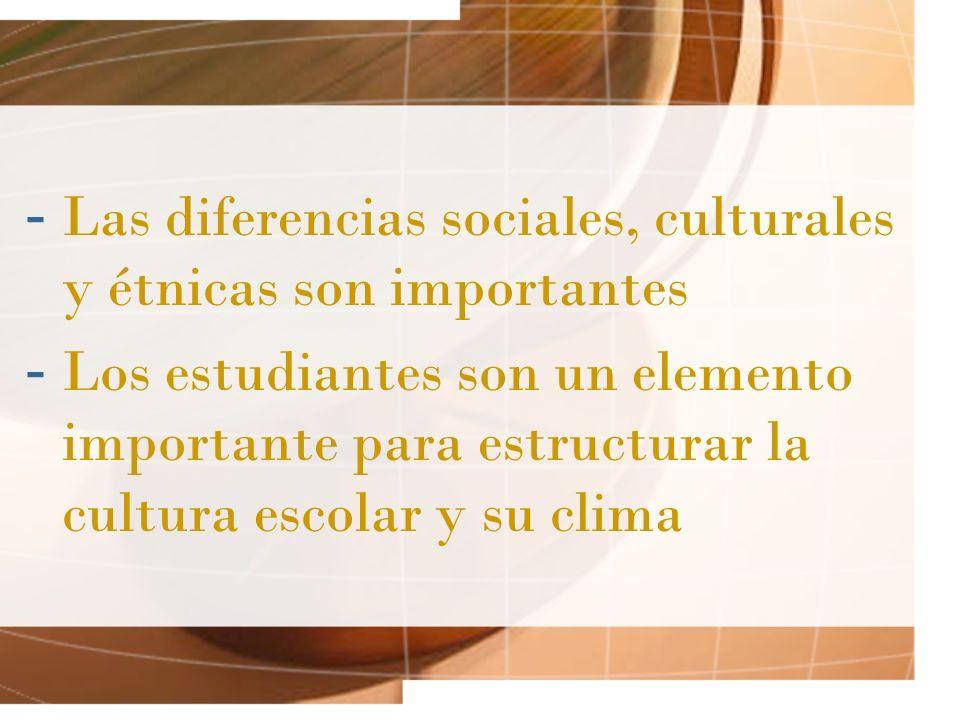 -L-Las diferencias sociales, culturales y étnicas son importantes -L-Los estudiantes son un elemento importante para estructurar la cultura escolar y