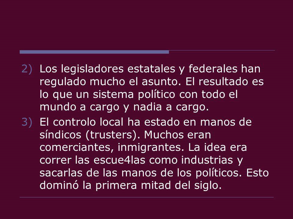 2)Los legisladores estatales y federales han regulado mucho el asunto.