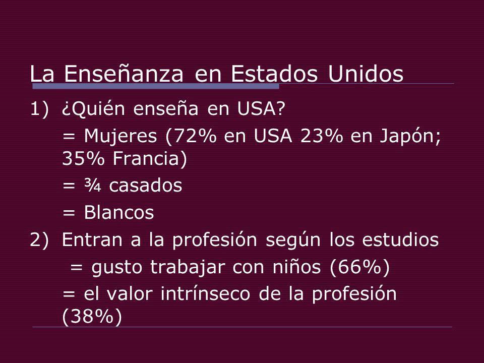 La Enseñanza en Estados Unidos 1)¿Quién enseña en USA.