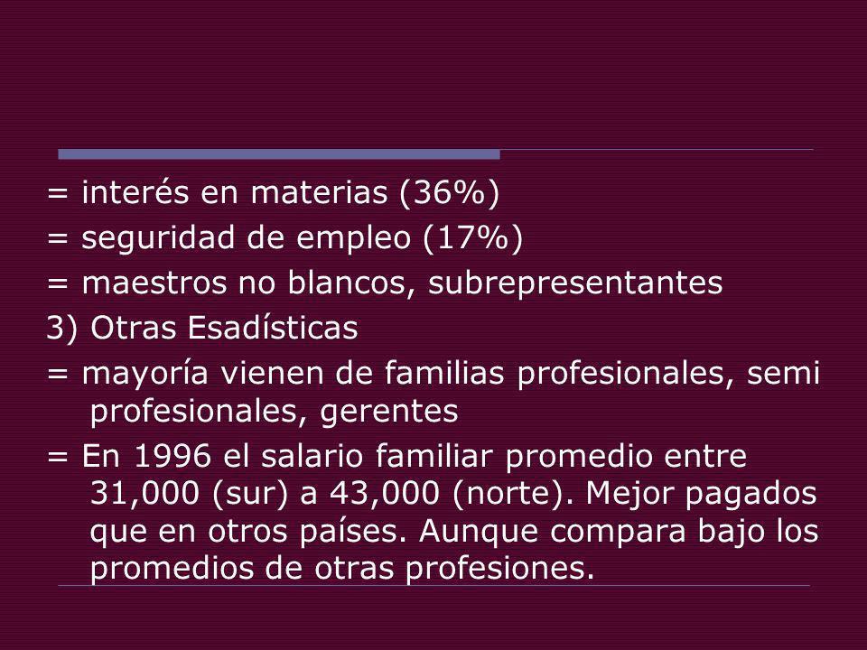 = interés en materias (36%) = seguridad de empleo (17%) = maestros no blancos, subrepresentantes 3) Otras Esadísticas = mayoría vienen de familias profesionales, semi profesionales, gerentes = En 1996 el salario familiar promedio entre 31,000 (sur) a 43,000 (norte).