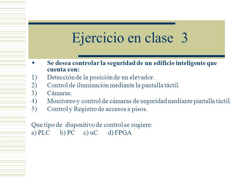Ejercicio en clase 3 Se desea controlar la seguridad de un edificio inteligente que cuenta con: 1)Detección de la posición de un elevador. 2)Control d