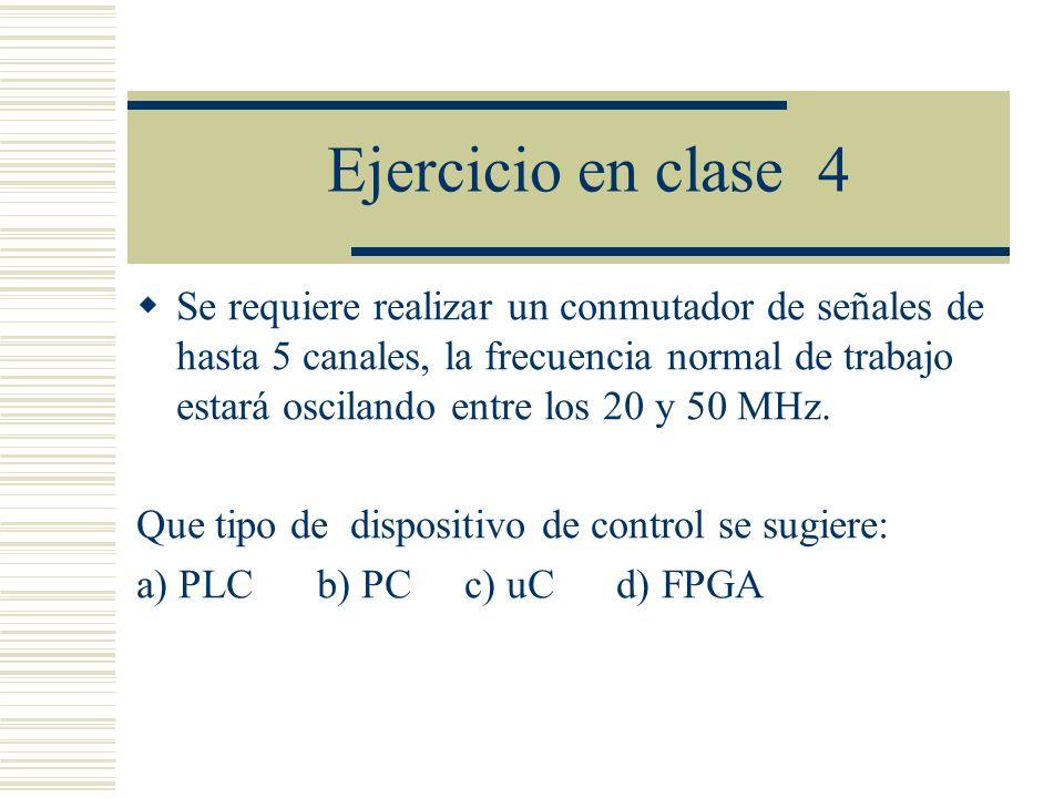 Ejercicio en clase 4 Se requiere realizar un conmutador de señales de hasta 5 canales, la frecuencia normal de trabajo estará oscilando entre los 20 y
