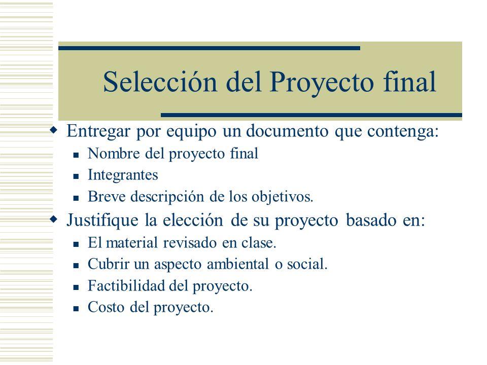 Selección del Proyecto final Entregar por equipo un documento que contenga: Nombre del proyecto final Integrantes Breve descripción de los objetivos.