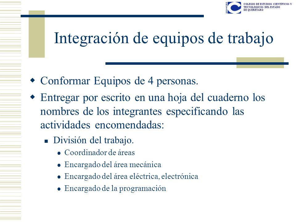 COLEGIO DE ESTUDIOS CIENTÍFICOS Y TECNOLÓGICOS DEL ESTADO DE QUERÉTARO Integración de equipos de trabajo Conformar Equipos de 4 personas. Entregar por