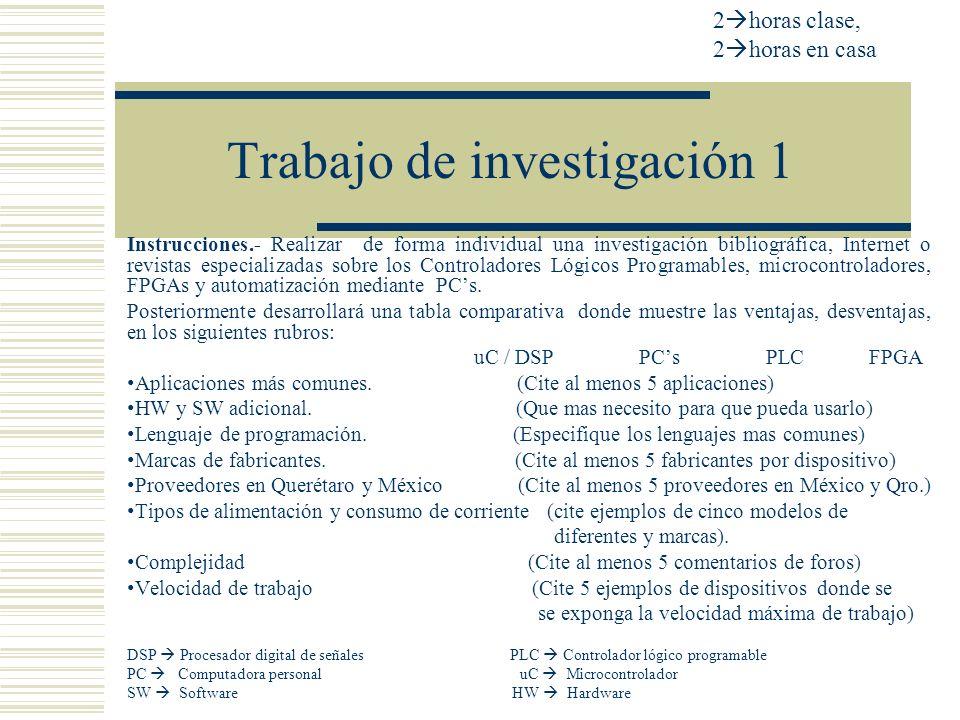 Trabajo de investigación 1 Instrucciones.- Realizar de forma individual una investigación bibliográfica, Internet o revistas especializadas sobre los