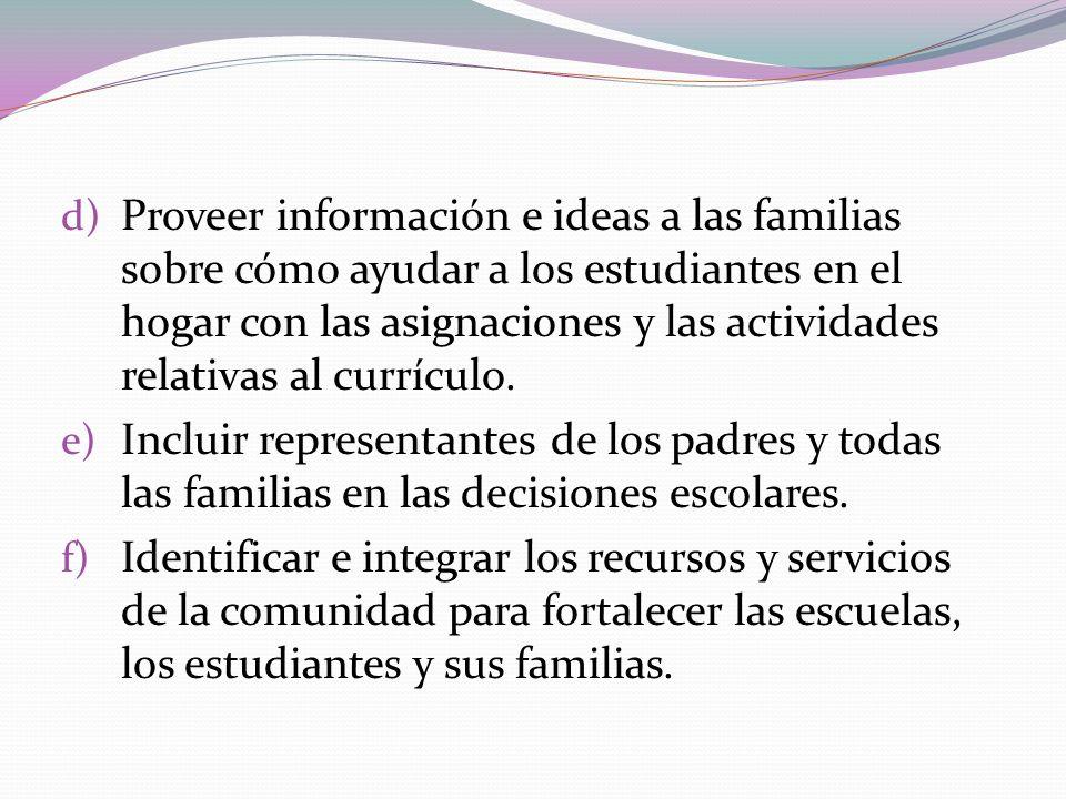 d) Proveer información e ideas a las familias sobre cómo ayudar a los estudiantes en el hogar con las asignaciones y las actividades relativas al curr