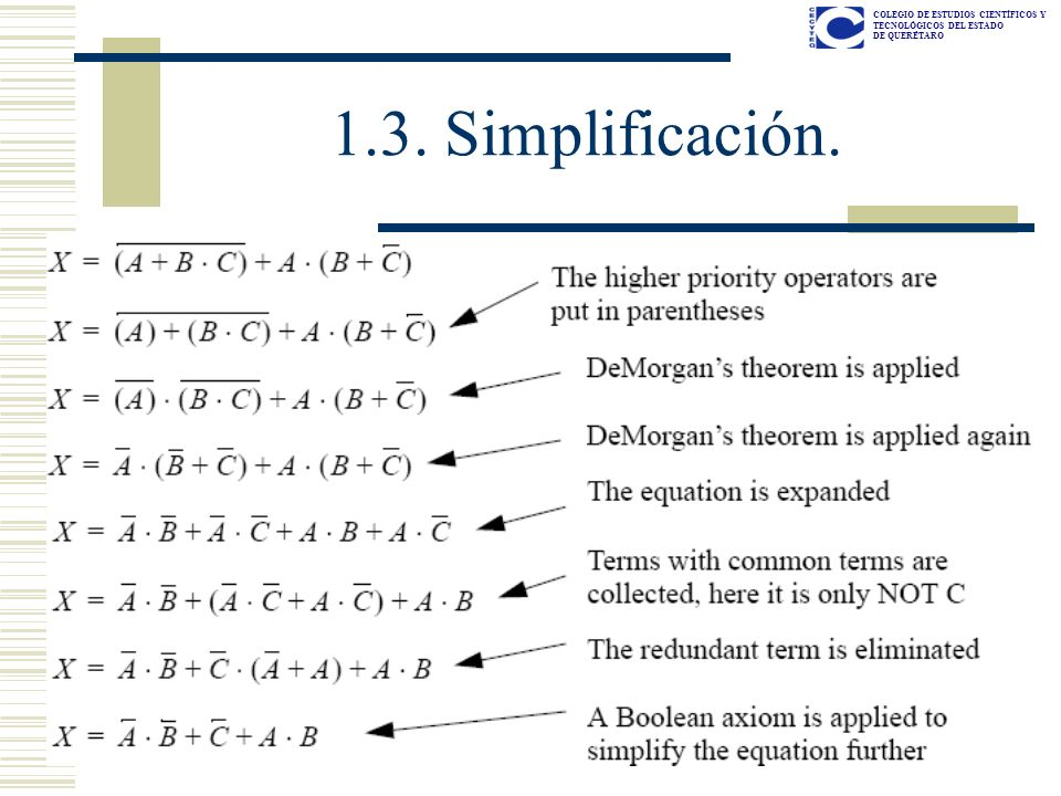 COLEGIO DE ESTUDIOS CIENTÍFICOS Y TECNOLÓGICOS DEL ESTADO DE QUERÉTARO 1.3. Simplificación.