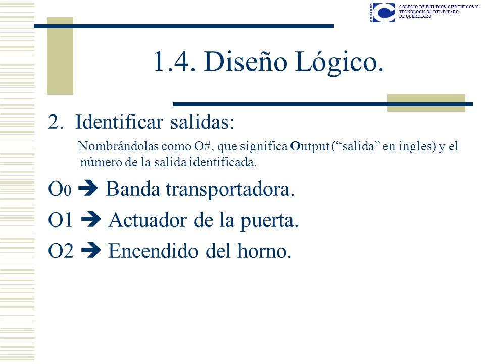 COLEGIO DE ESTUDIOS CIENTÍFICOS Y TECNOLÓGICOS DEL ESTADO DE QUERÉTARO 1.4. Diseño Lógico. 2. Identificar salidas: Nombrándolas como O#, que significa
