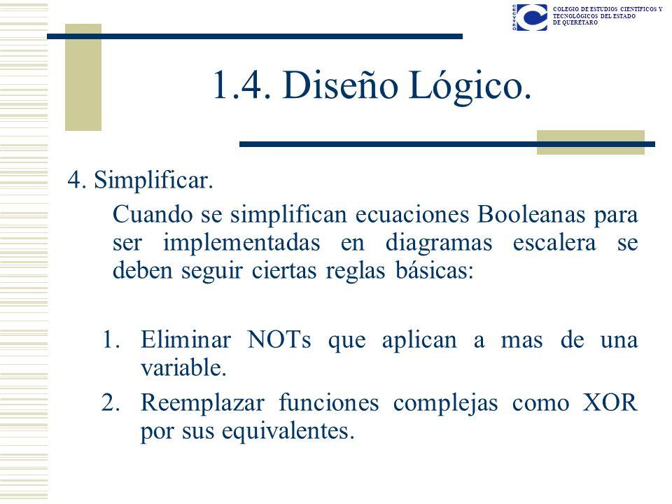 COLEGIO DE ESTUDIOS CIENTÍFICOS Y TECNOLÓGICOS DEL ESTADO DE QUERÉTARO 4. Simplificar. Cuando se simplifican ecuaciones Booleanas para ser implementad