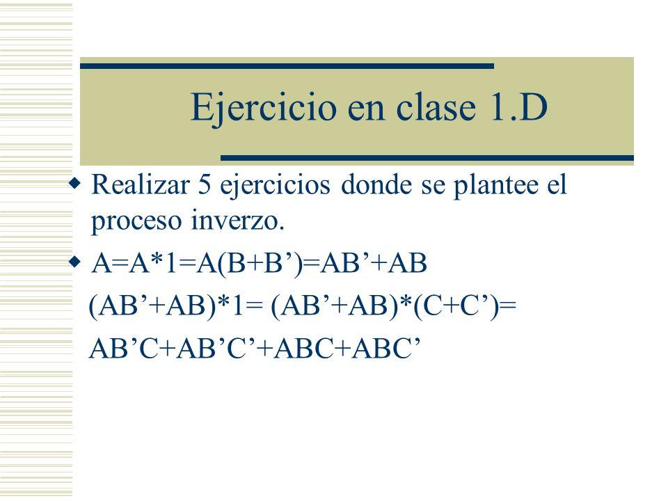 Ejercicio en clase 1.D Realizar 5 ejercicios donde se plantee el proceso inverzo. A=A*1=A(B+B)=AB+AB (AB+AB)*1= (AB+AB)*(C+C)= ABC+ABC+ABC+ABC