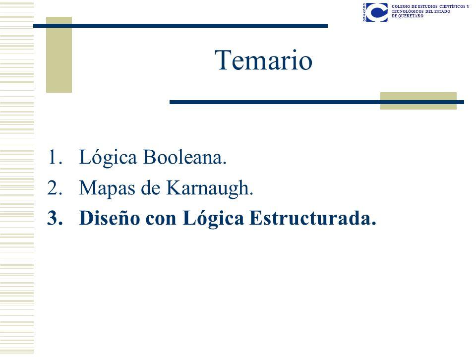 COLEGIO DE ESTUDIOS CIENTÍFICOS Y TECNOLÓGICOS DEL ESTADO DE QUERÉTARO Temario 1.Lógica Booleana. 2.Mapas de Karnaugh. 3.Diseño con Lógica Estructurad