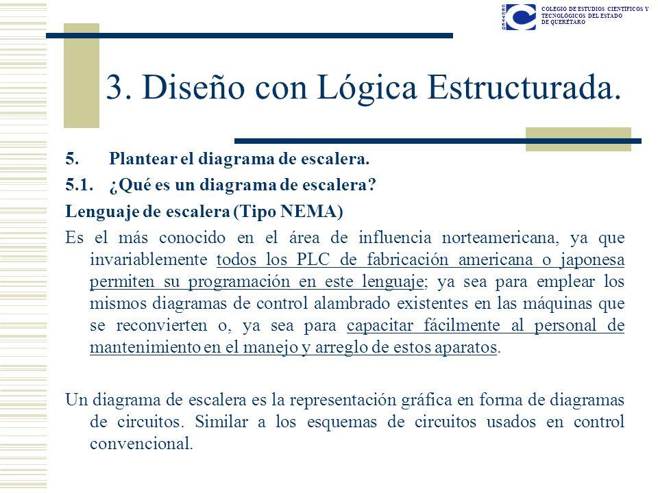 COLEGIO DE ESTUDIOS CIENTÍFICOS Y TECNOLÓGICOS DEL ESTADO DE QUERÉTARO 5. Plantear el diagrama de escalera. 5.1. ¿Qué es un diagrama de escalera? Leng