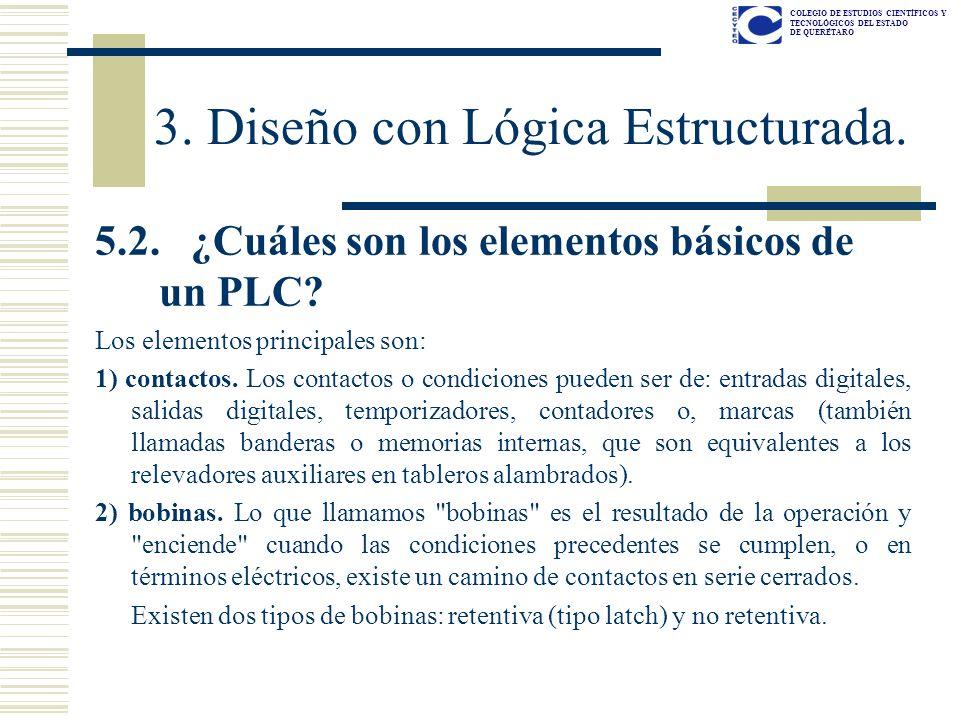 COLEGIO DE ESTUDIOS CIENTÍFICOS Y TECNOLÓGICOS DEL ESTADO DE QUERÉTARO 5.2. ¿Cuáles son los elementos básicos de un PLC? Los elementos principales son