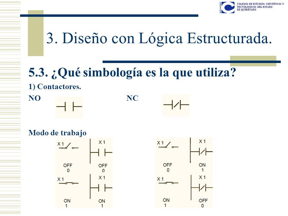 COLEGIO DE ESTUDIOS CIENTÍFICOS Y TECNOLÓGICOS DEL ESTADO DE QUERÉTARO 5.3. ¿Qué simbología es la que utiliza? 1) Contactores. NO NC Modo de trabajo 3