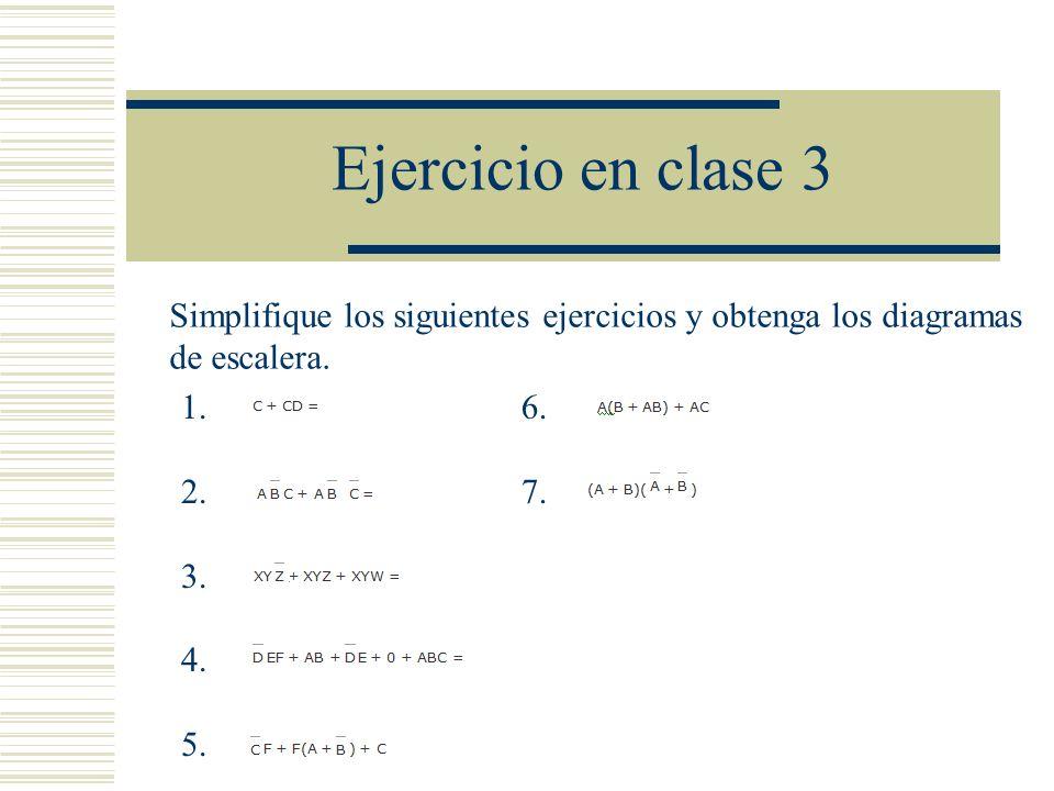 Ejercicio en clase 3 1. 2. 3. 4. 5. 6. 7. Simplifique los siguientes ejercicios y obtenga los diagramas de escalera.