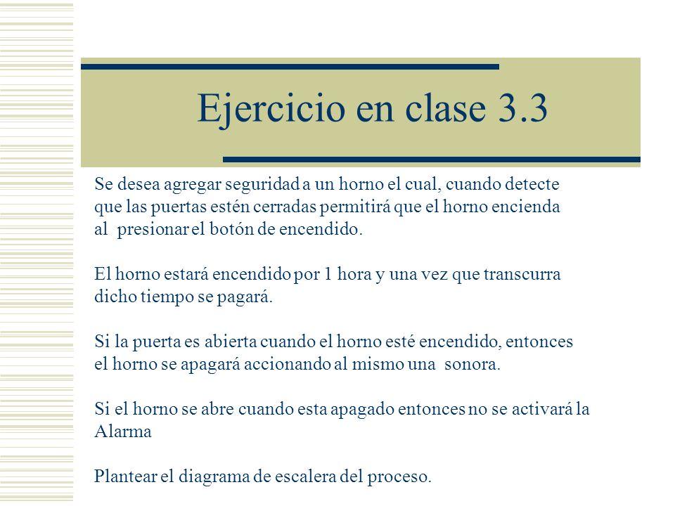 Ejercicio en clase 3.3 Se desea agregar seguridad a un horno el cual, cuando detecte que las puertas estén cerradas permitirá que el horno encienda al