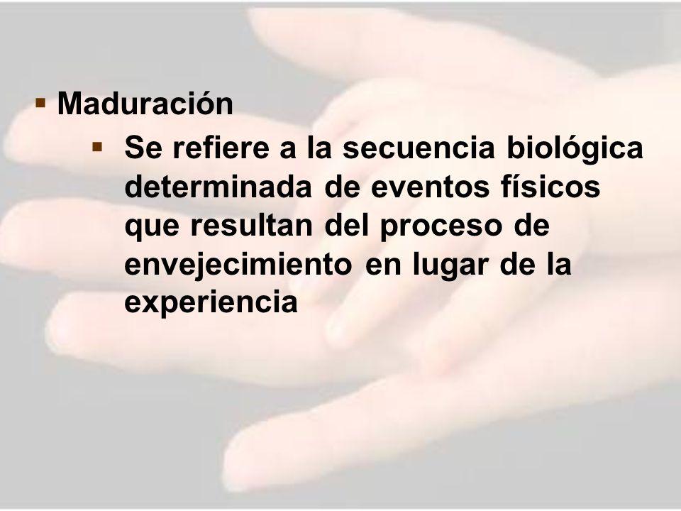 Maduración Se refiere a la secuencia biológica determinada de eventos físicos que resultan del proceso de envejecimiento en lugar de la experiencia