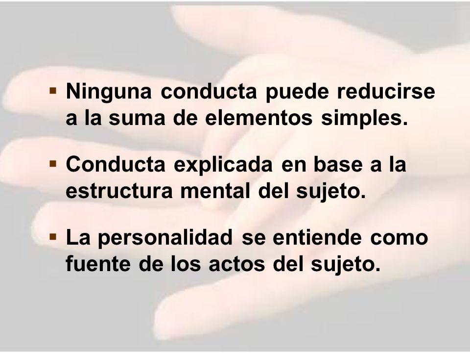 Ninguna conducta puede reducirse a la suma de elementos simples. Conducta explicada en base a la estructura mental del sujeto. La personalidad se enti