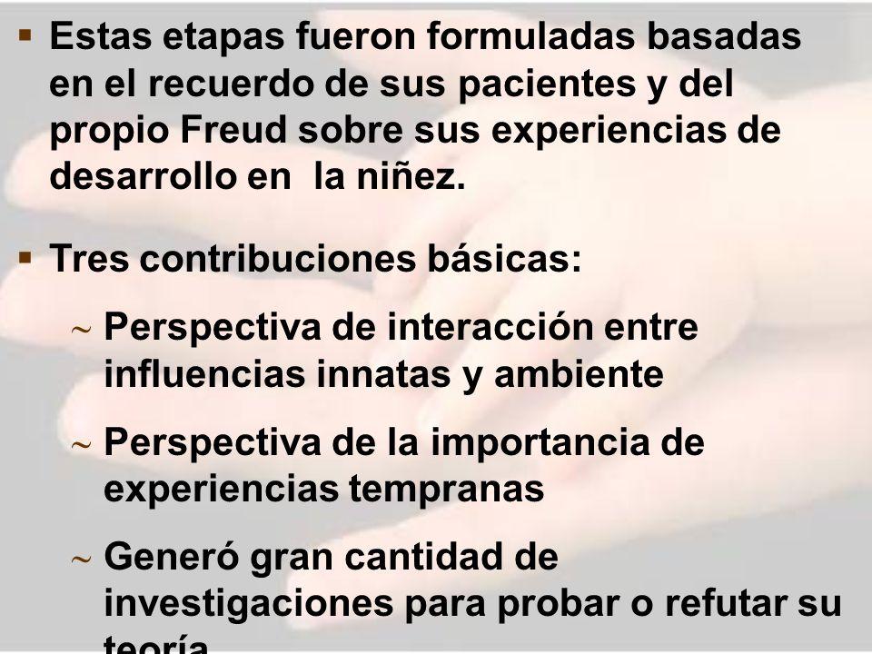 Estas etapas fueron formuladas basadas en el recuerdo de sus pacientes y del propio Freud sobre sus experiencias de desarrollo en la niñez. Tres contr