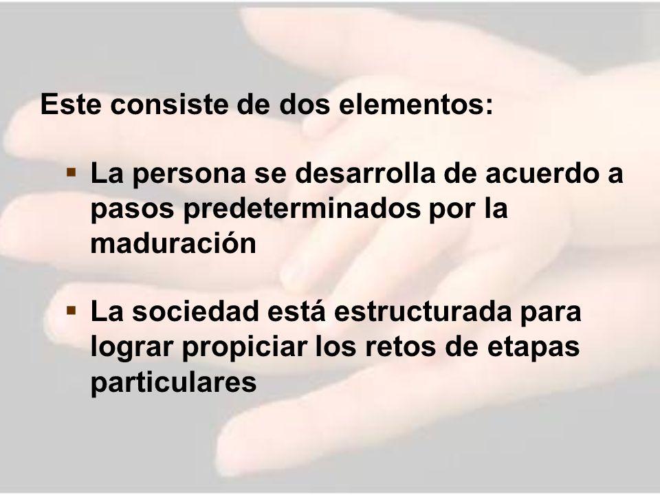 Este consiste de dos elementos: La persona se desarrolla de acuerdo a pasos predeterminados por la maduración La sociedad está estructurada para logra