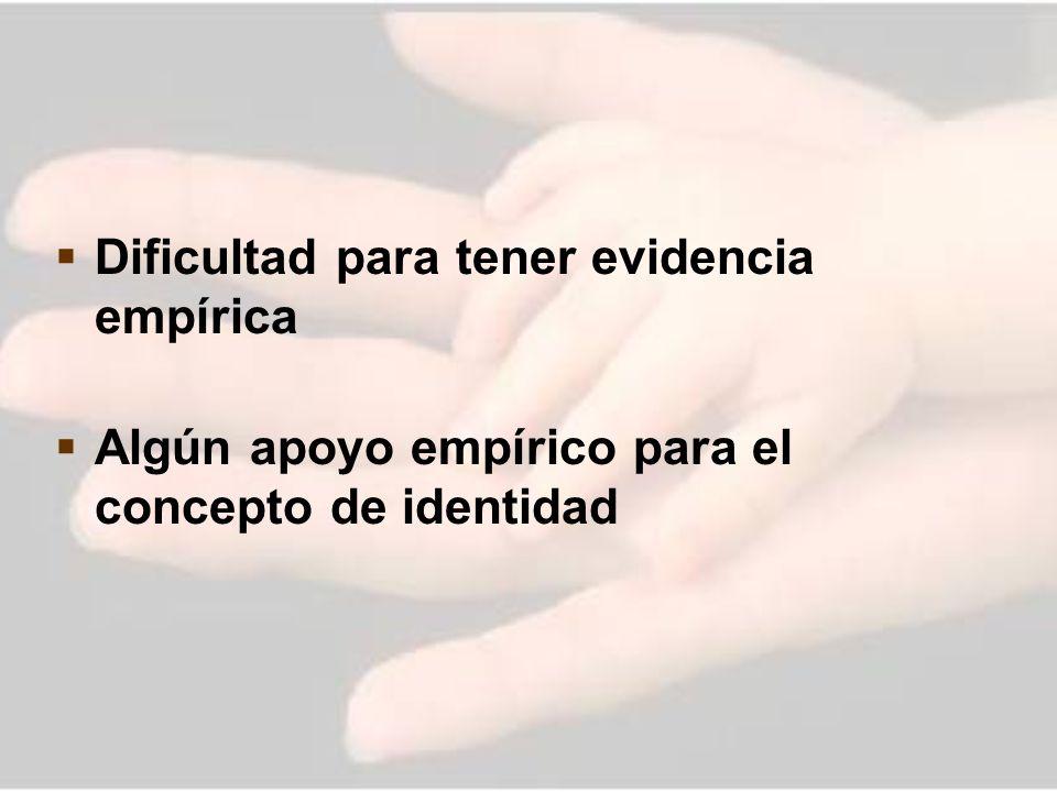 Dificultad para tener evidencia empírica Algún apoyo empírico para el concepto de identidad