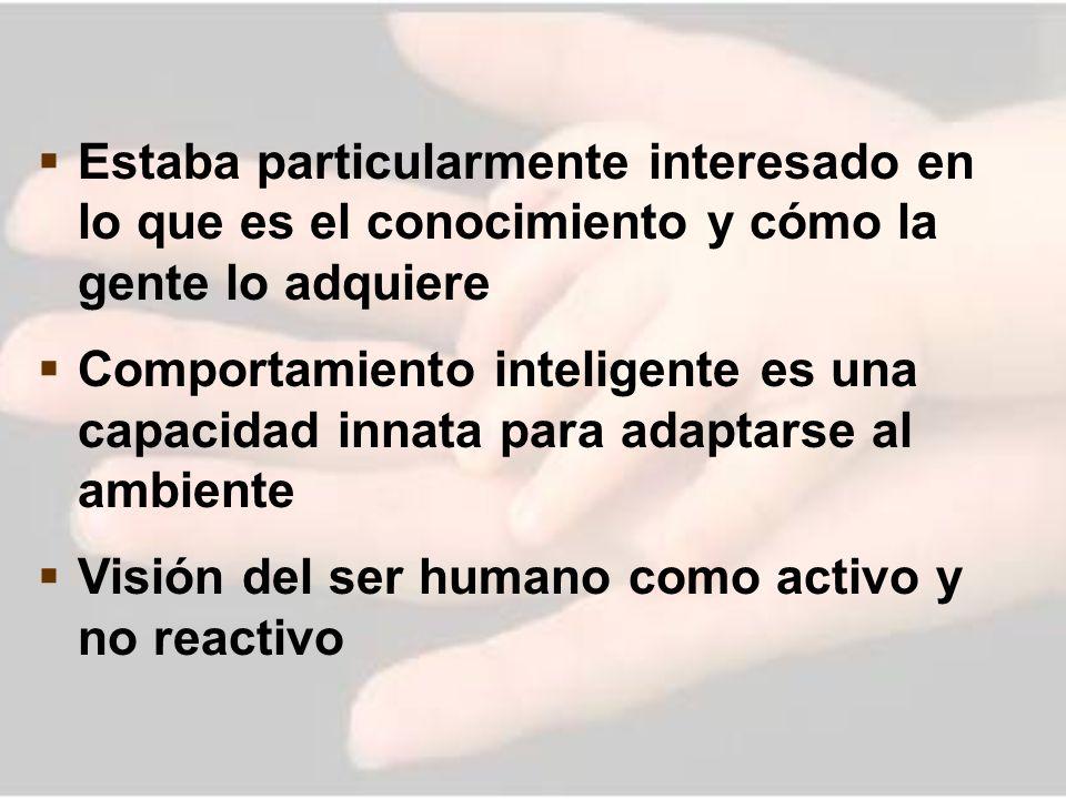 Estaba particularmente interesado en lo que es el conocimiento y cómo la gente lo adquiere Comportamiento inteligente es una capacidad innata para ada