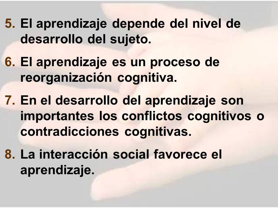 5. El aprendizaje depende del nivel de desarrollo del sujeto. 6. El aprendizaje es un proceso de reorganización cognitiva. 7. En el desarrollo del apr