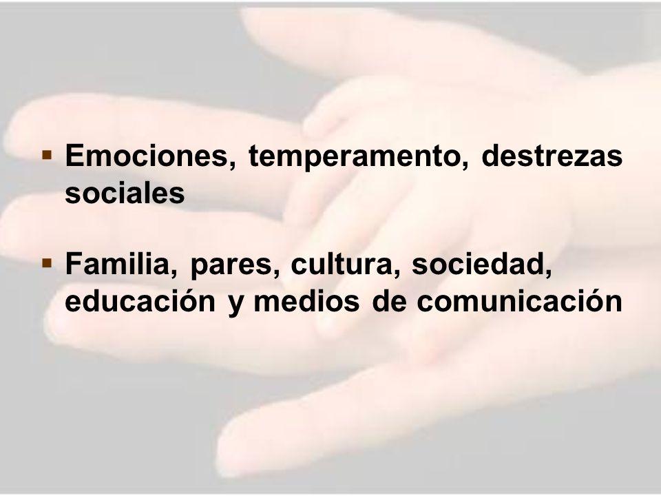 Emociones, temperamento, destrezas sociales Familia, pares, cultura, sociedad, educación y medios de comunicación
